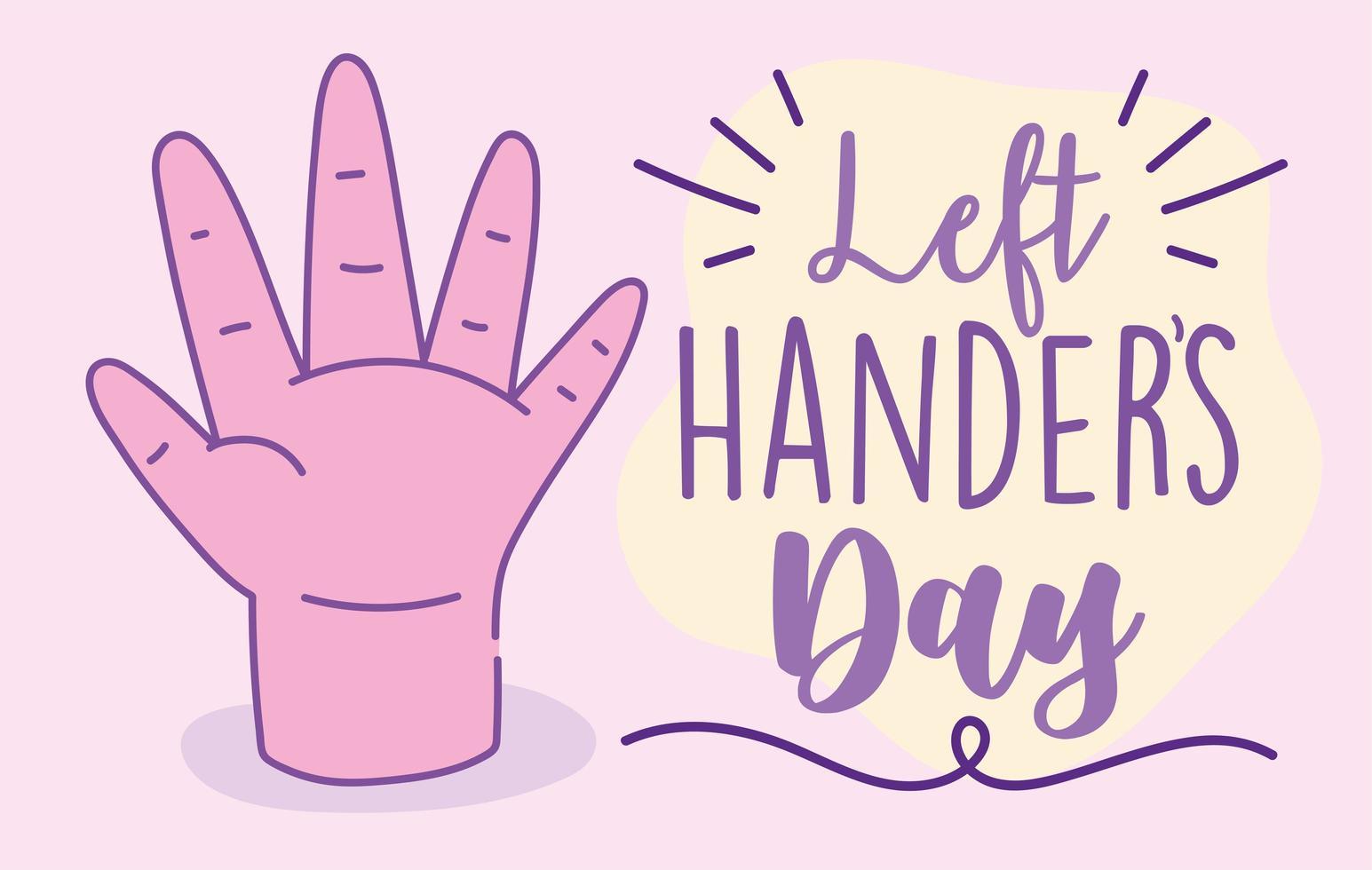 poster del giorno dei mancini con mano rosa vettore