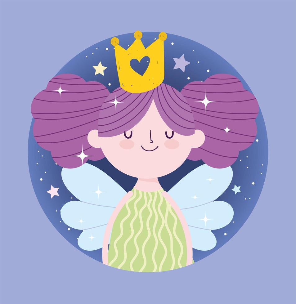 princesse fée aux ailes et couronne en or vecteur