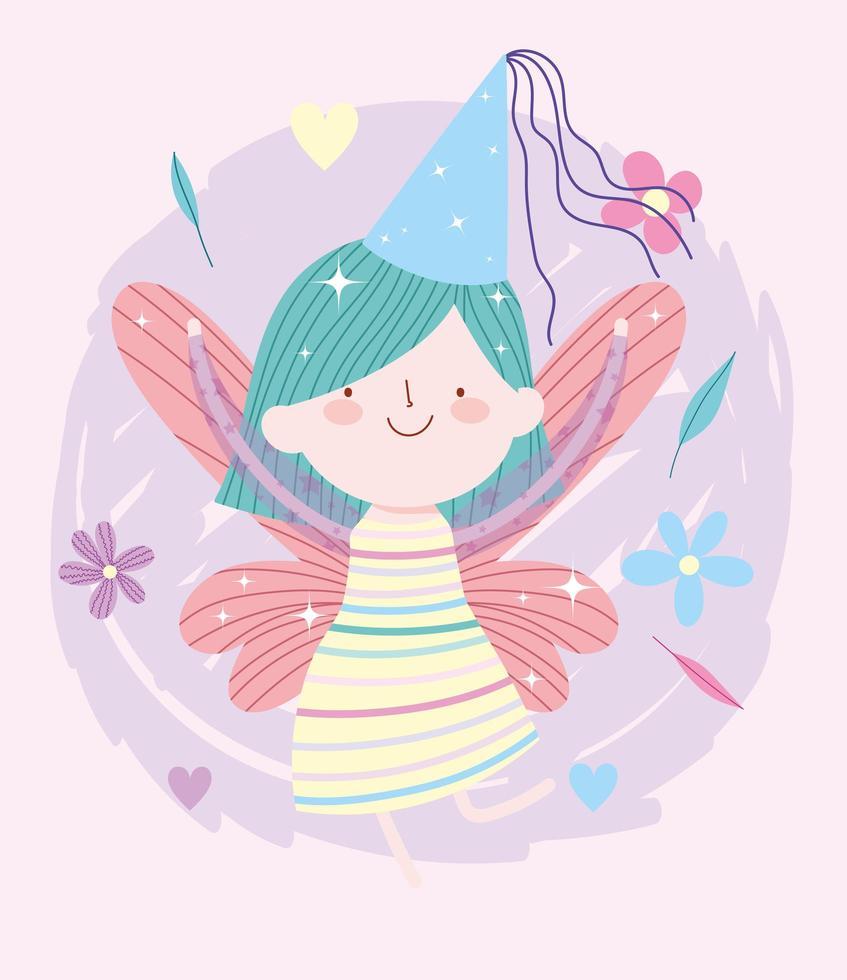 kleine Märchenprinzessin mit Hut und Blumen vektor