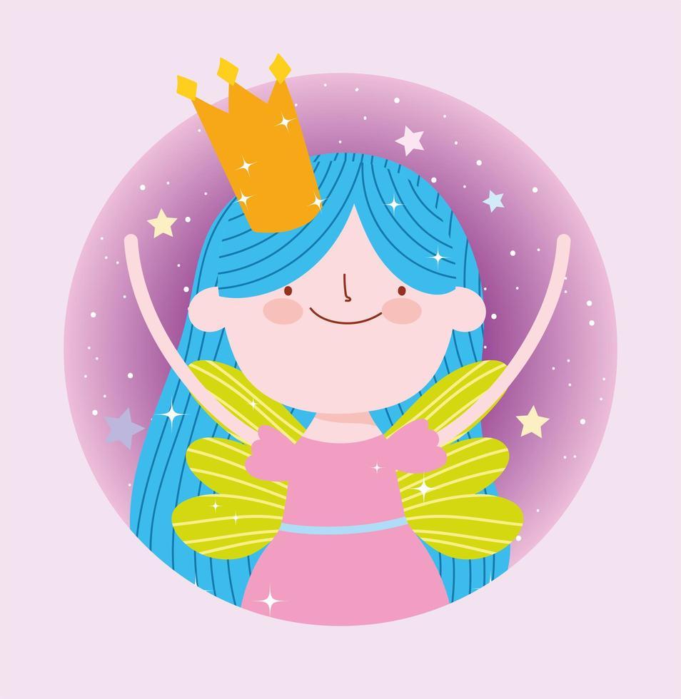 fee prinses met kroon fantasie ontwerp vector