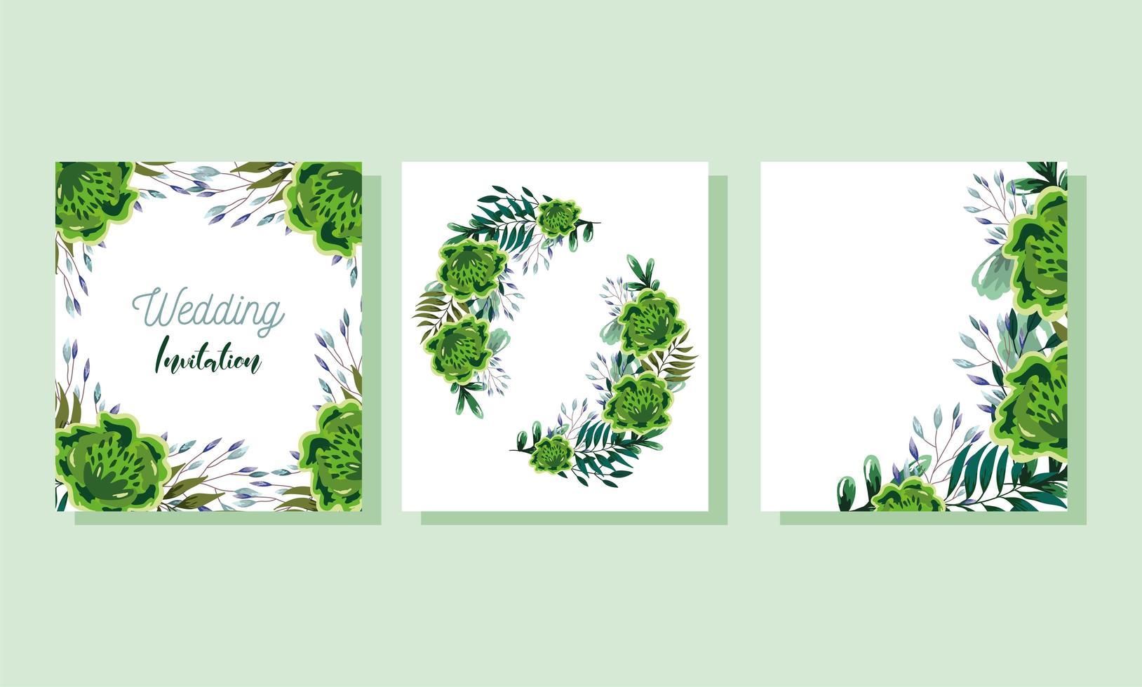 bloemen en bladeren aquarel kaartsjabloon vector