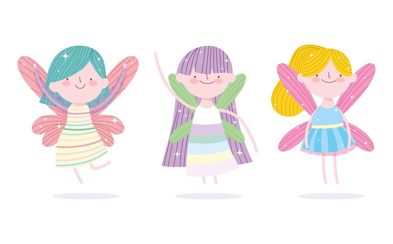 pequeñas princesas de hadas con alas vector