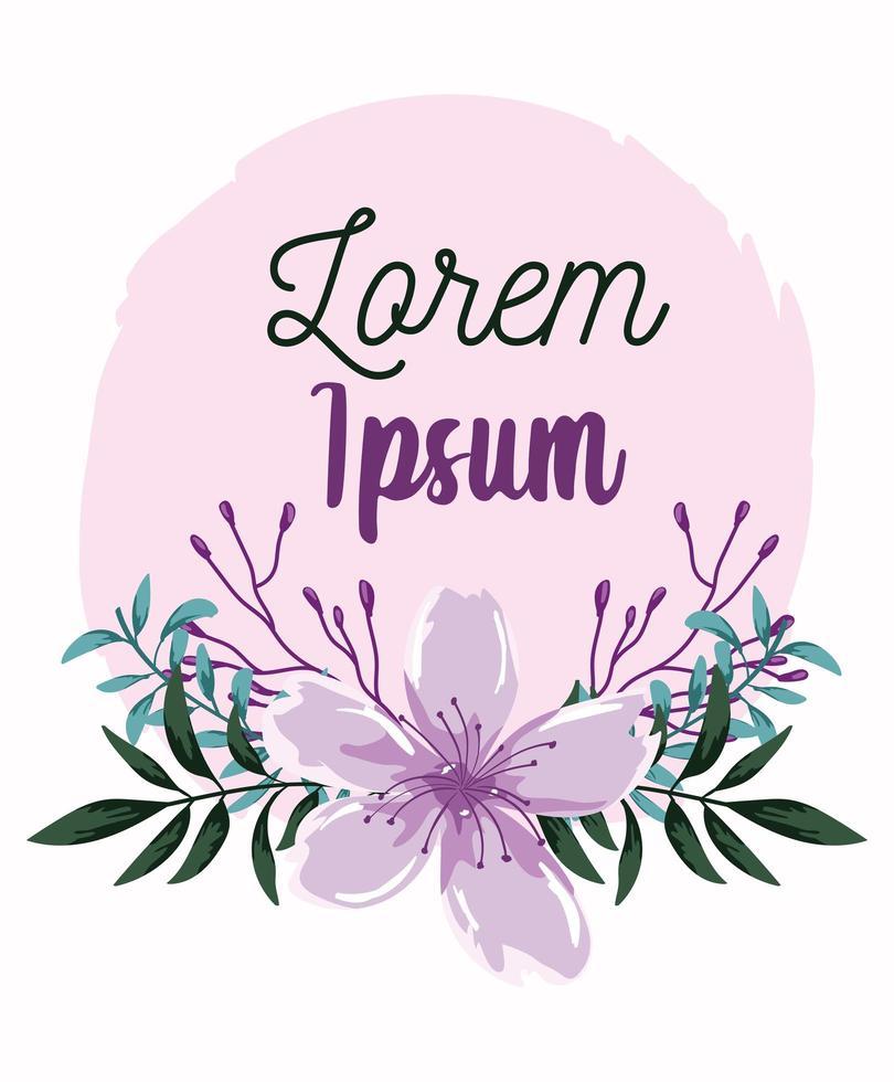 invitation de mariage couronne de fleurs puple vecteur