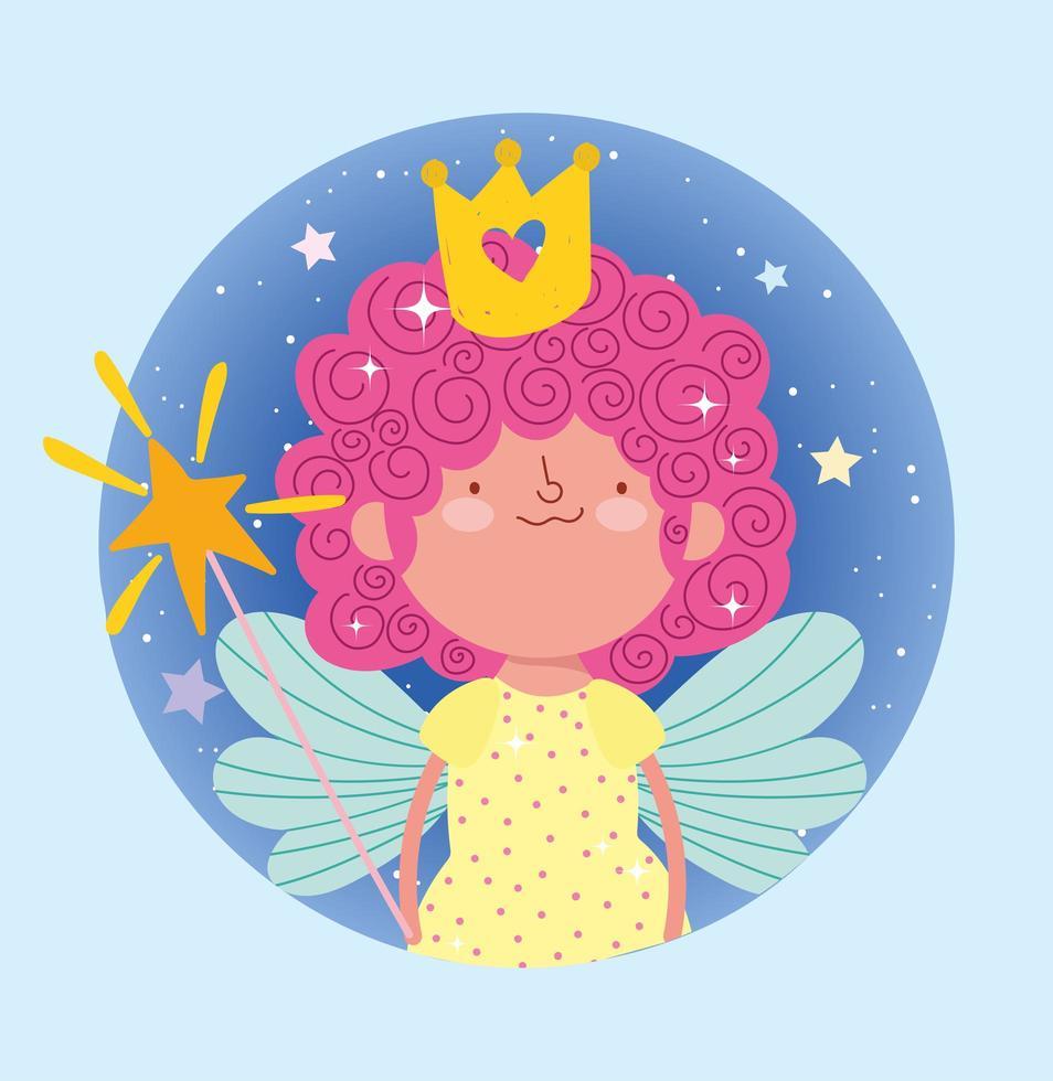 princesa fada com varinha e coroa em moldura de crículo vetor