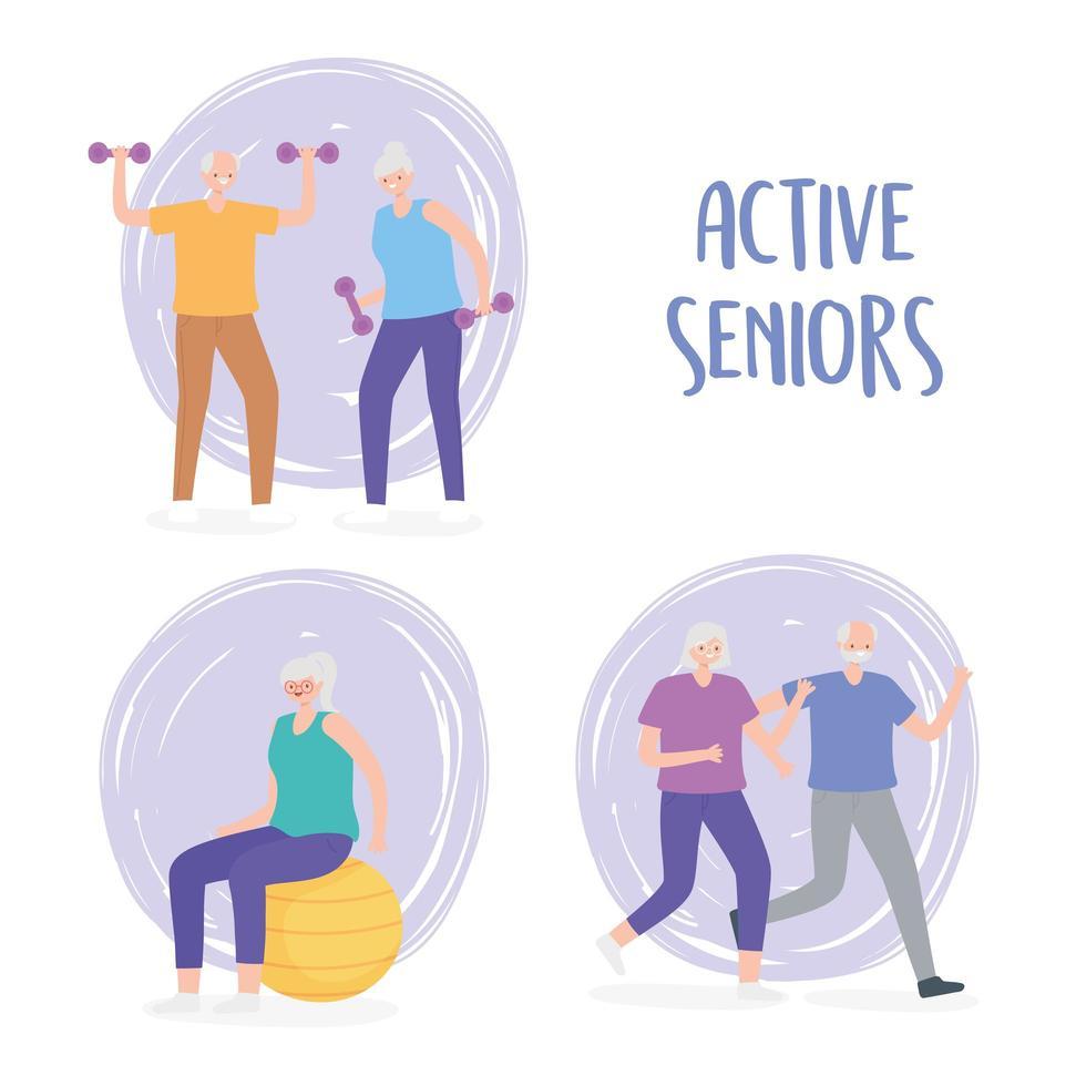 activité seniors faisant des activités physiques vecteur
