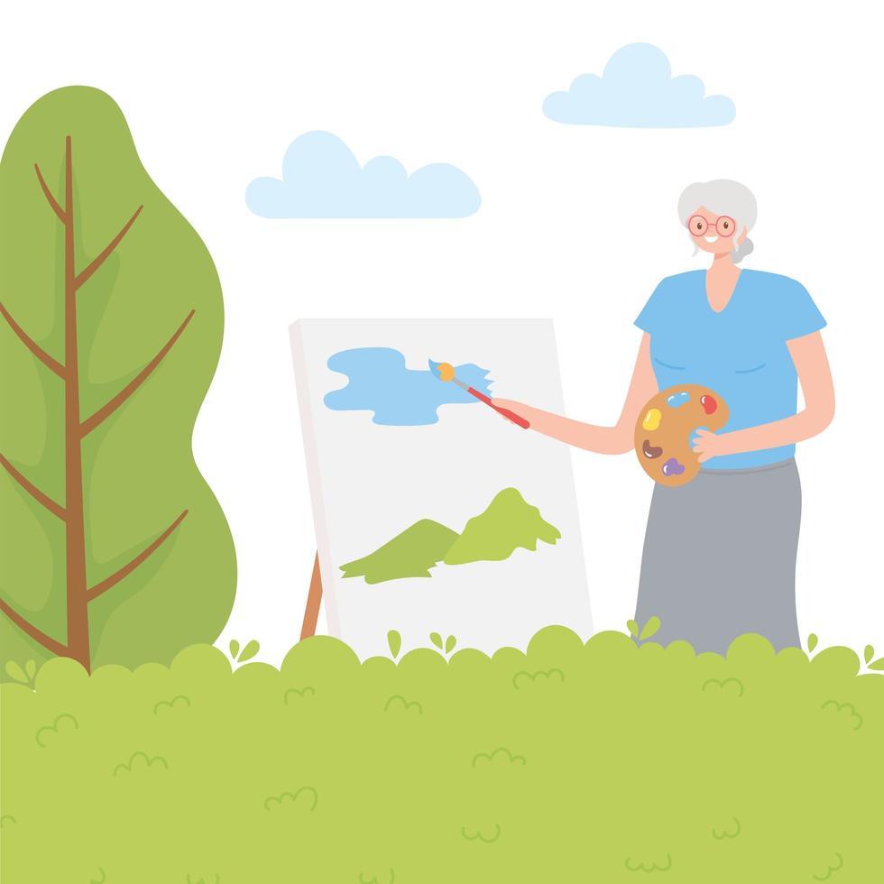 Femme âgée active peinture au pinceau sur toile vecteur