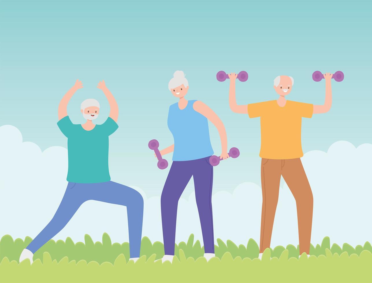 groep senior mensen trainen in het park vector