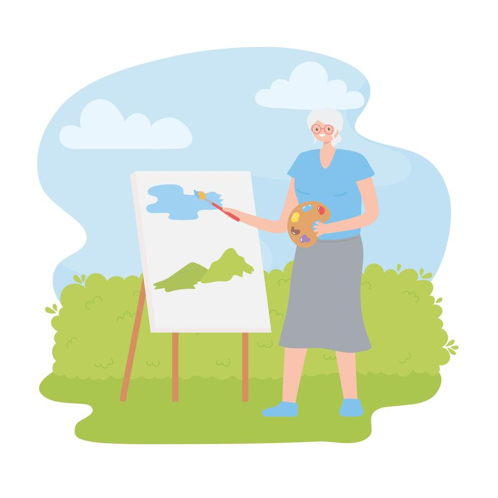 Senior Woman Painting Watercolor in Park vector