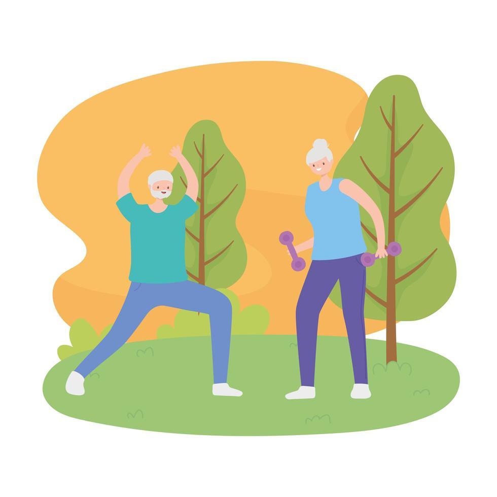 glückliches älteres Ehepaar, das Übungen mit Naturansicht macht vektor