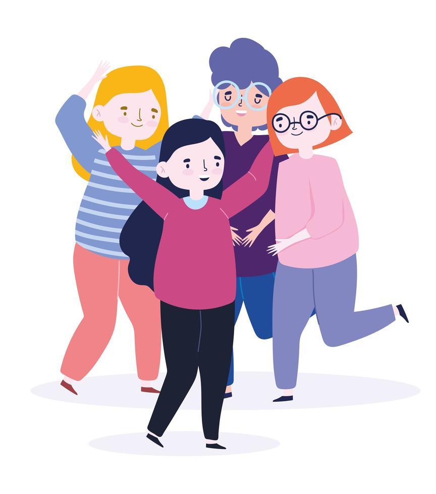 feliz día de la juventud niños y niñas celebrando vector