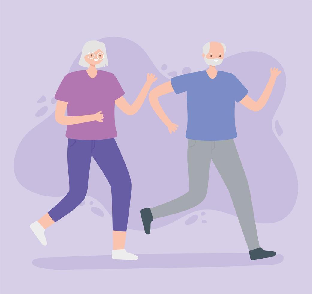 oudere man en vrouw lopen vector