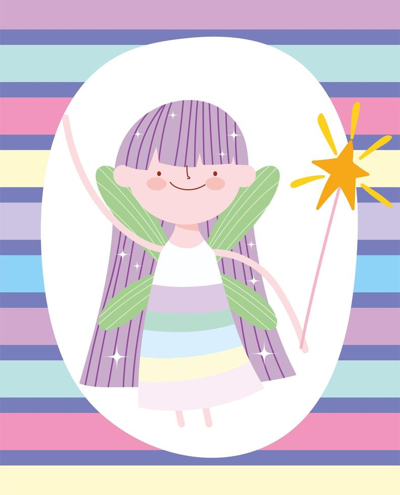 princesse fée avec baguette magique sur motif rayé vecteur