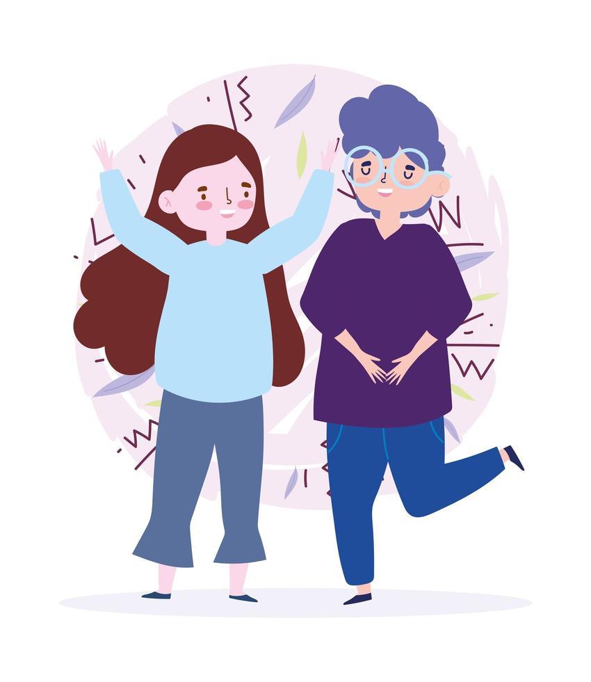 gelukkige jeugddag jonge man en vrouw vieren vector