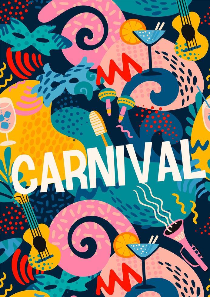 dessin abstrait coloré pour la célébration du carnaval vecteur