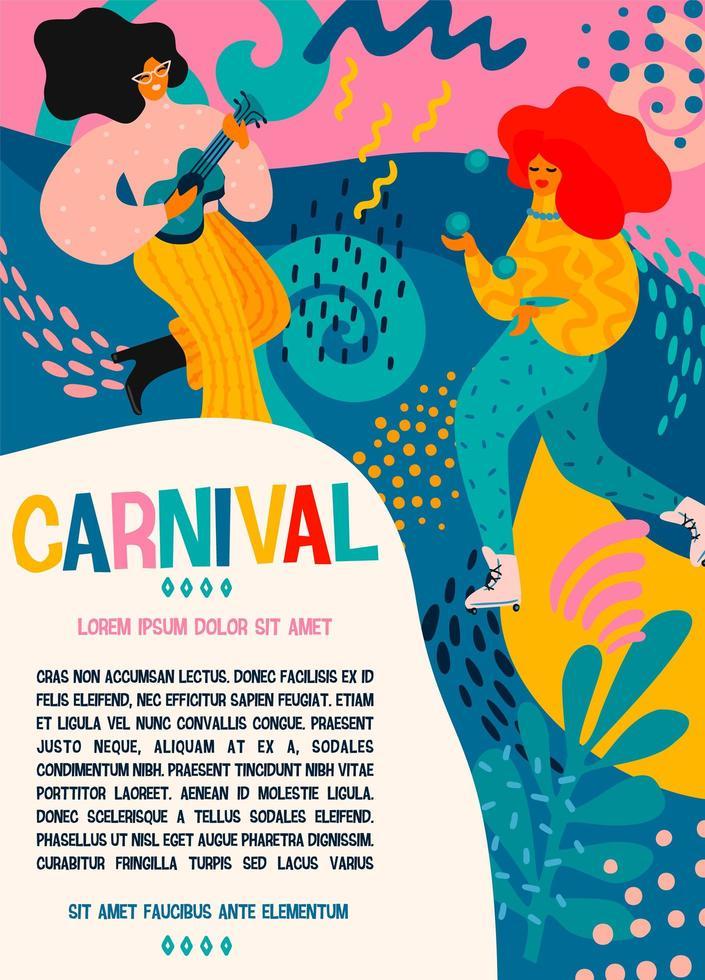 carnaval poster sjabloon met vrouwen vieren vector