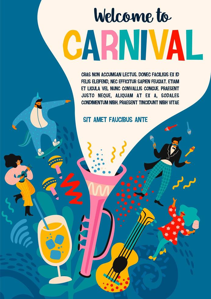 Carnival poster template with people celebrating  vector