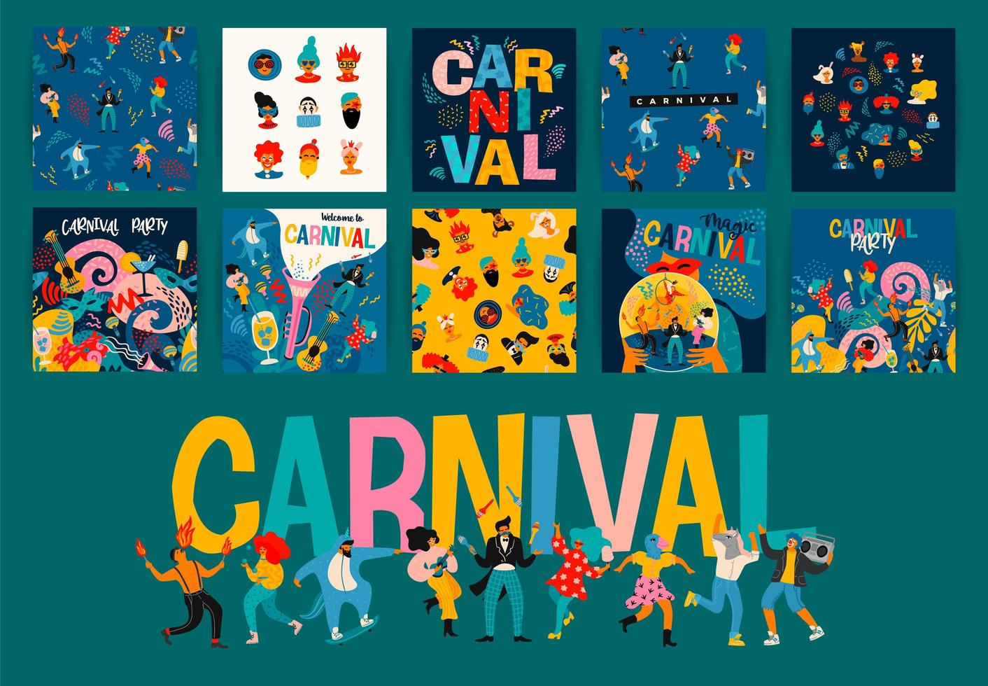 Set of Carnival square poster designs  vector