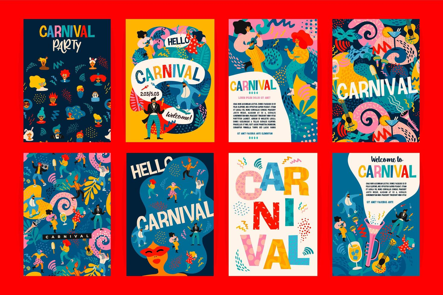 Set of Carnival poster designs  vector