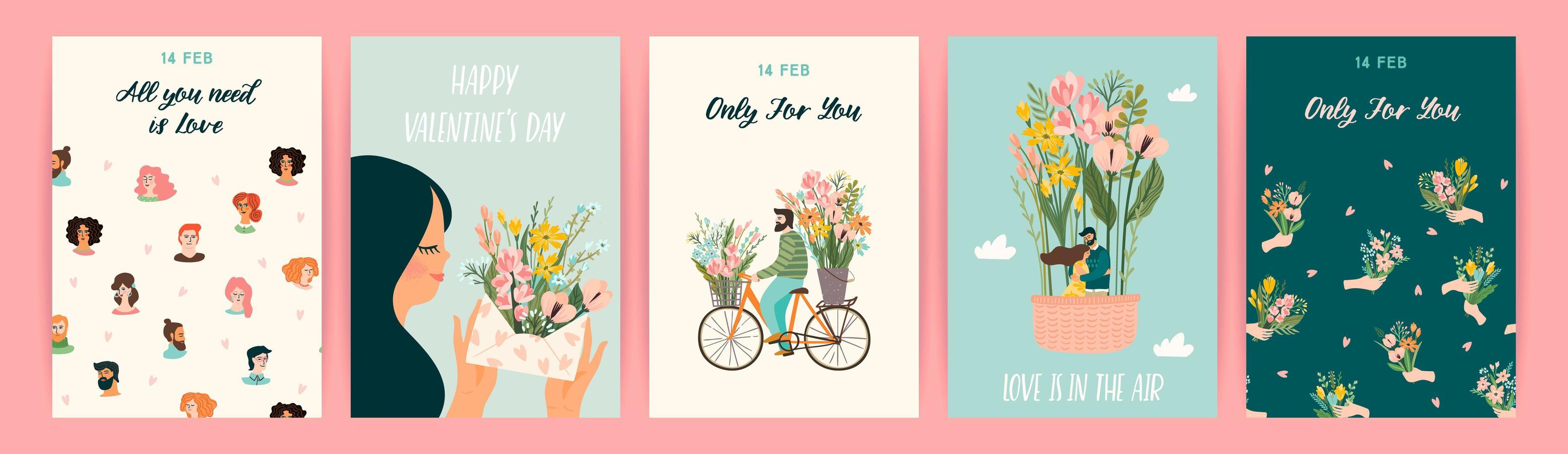 set van romantische ontwerpen voor Valentijnsdag kaarten vector