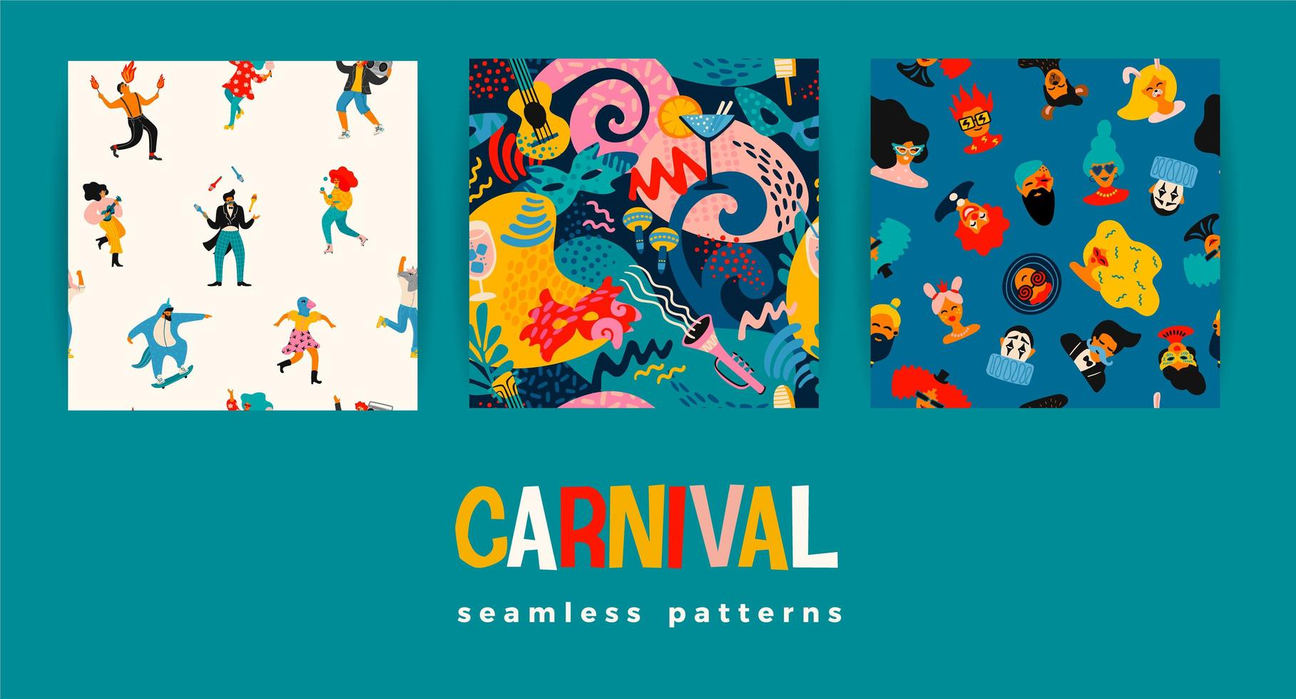 Set of Carnival seamless patterns  vector