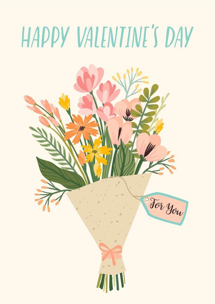boeket bloemen voor Valentijnsdag vector