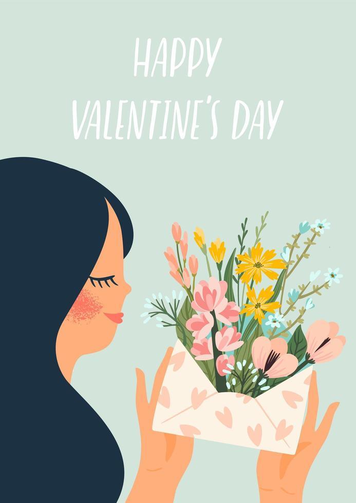 vrouw met bloemen voor Valentijnsdag kaart vector
