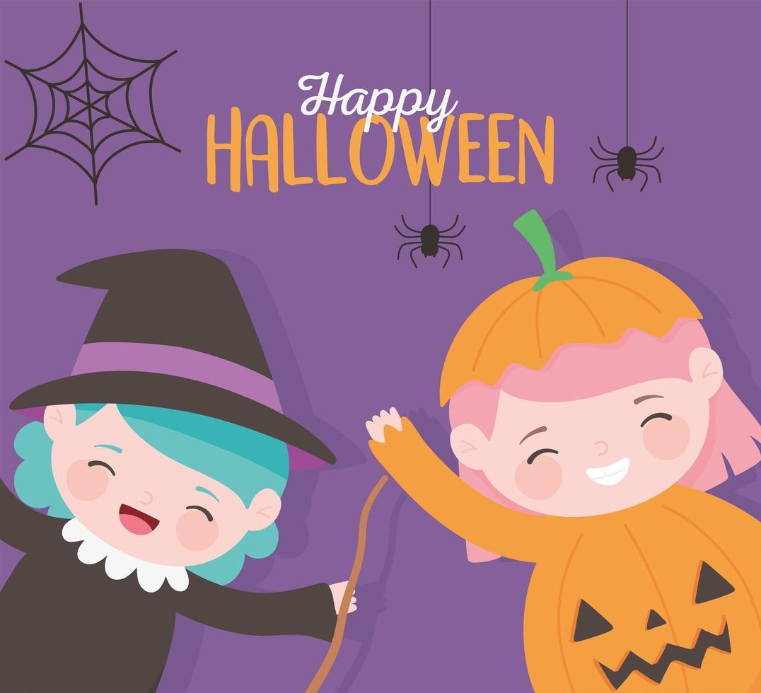 Happy Halloween, little girl witch and pumpkin vector