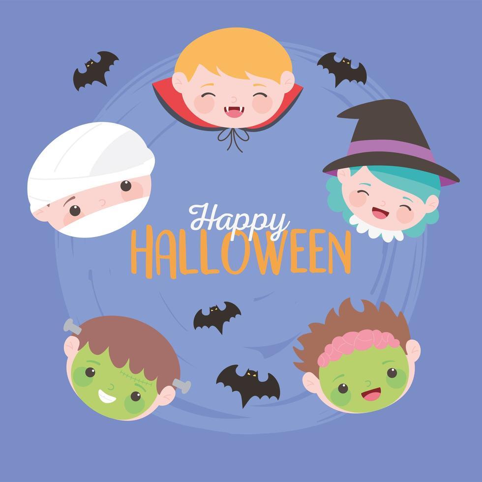 joyeux halloween, visages de personnages de costumes pour enfants vecteur