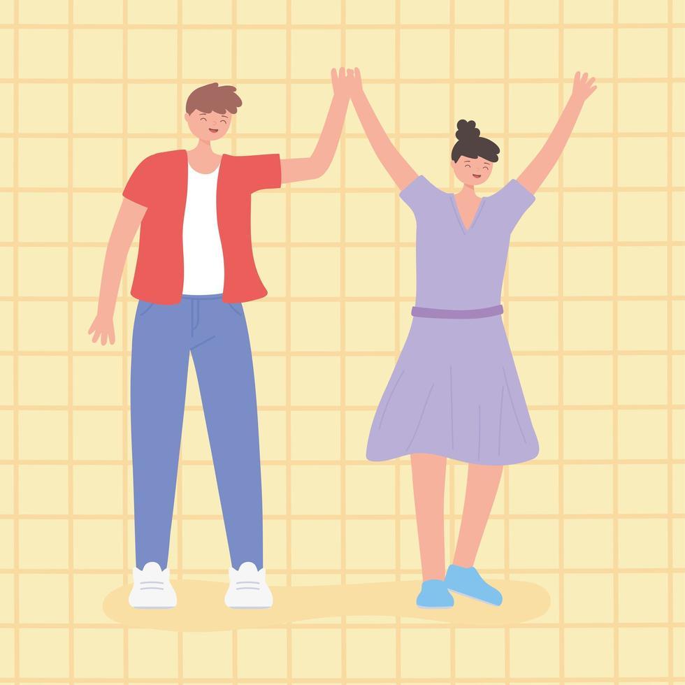 gens ensemble, homme et femme unis avec les mains en l'air vecteur