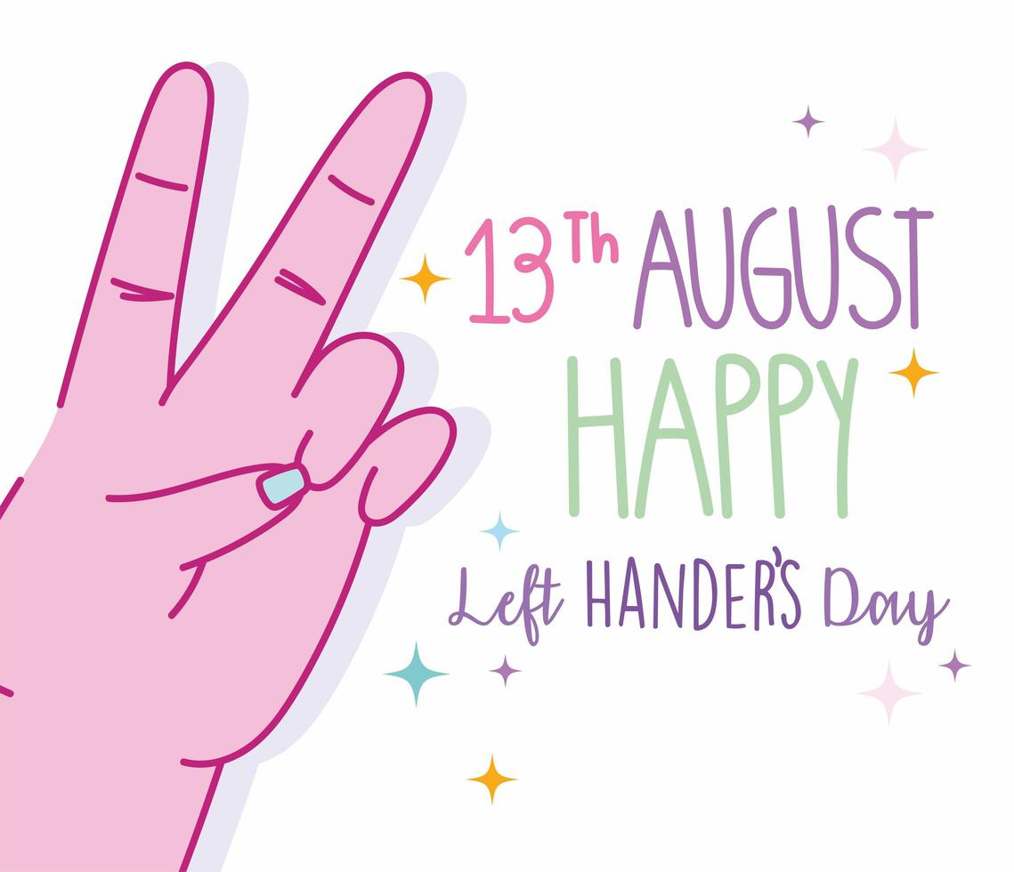 dia do canhoto, mão mostrando o desenho do sinal de vitória vetor