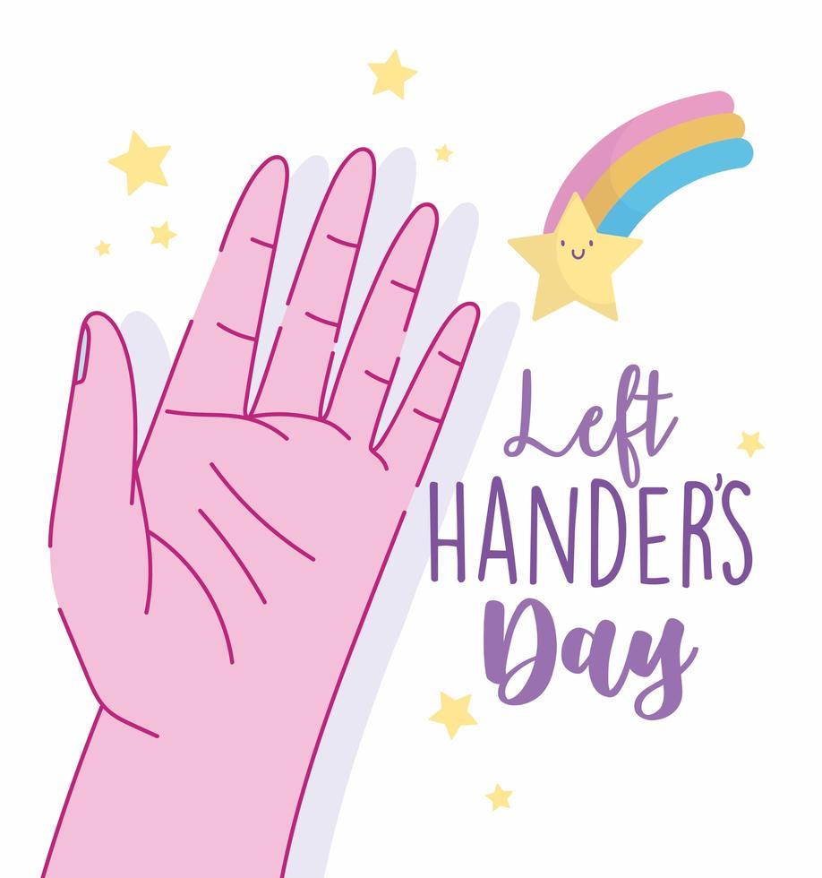 jour des gauchers, main ouverte et dessin animé étoile arc-en-ciel vecteur