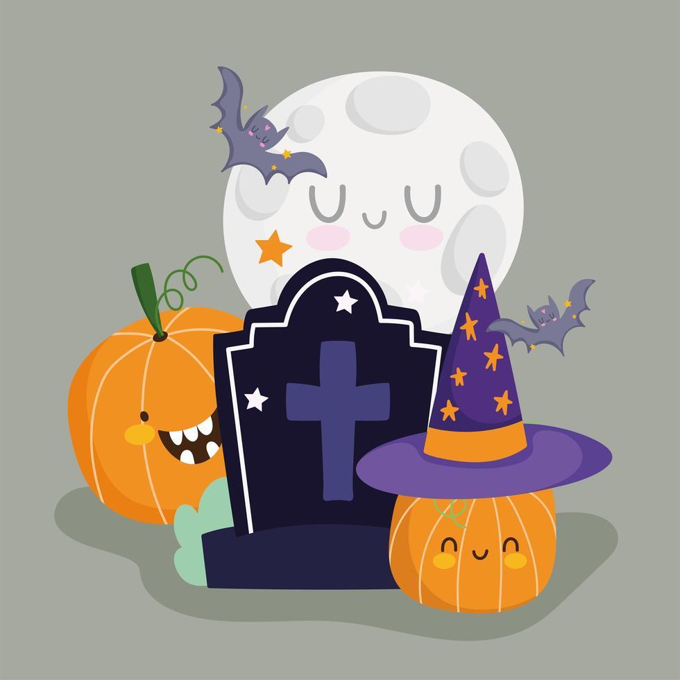 happy halloween grafsteen, maan en pompoen vleermuizen ontwerp vector