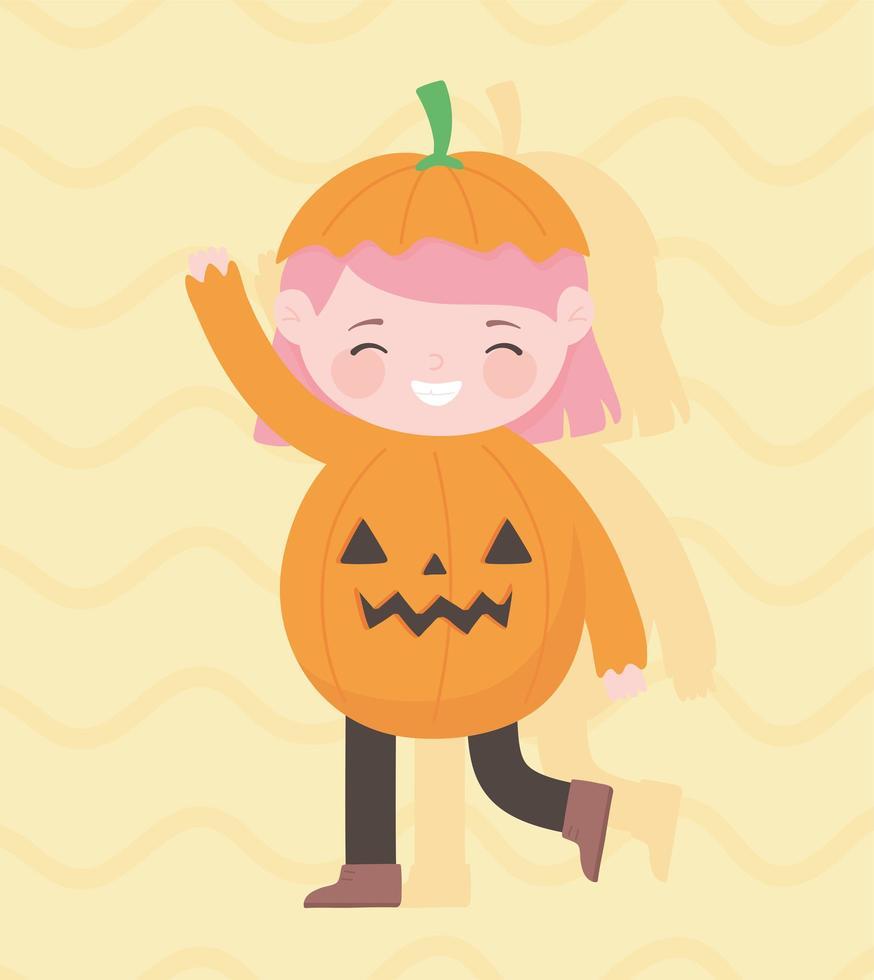 Happy Halloween, süßes kleines Kürbismädchen vektor