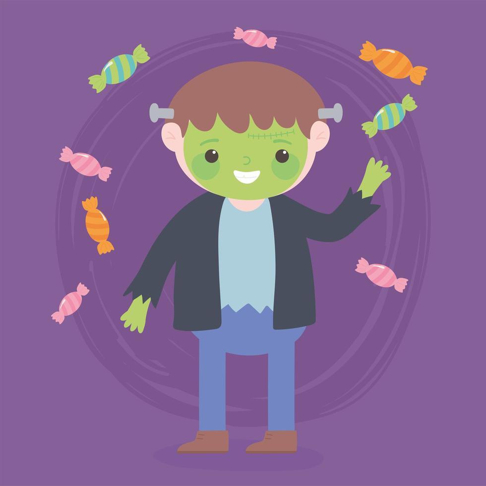 happy halloween, monster boy met snoepjes vector