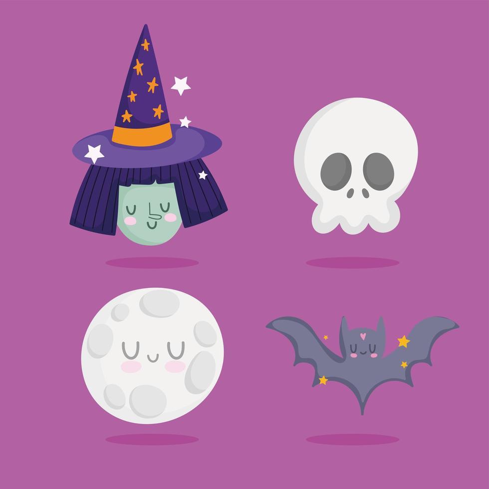 gelukkige halloween-heks, schedel, maan, vleermuispictogrammen vector