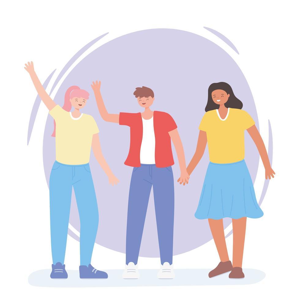persone insieme, donna e uomo agitando le mani vettore