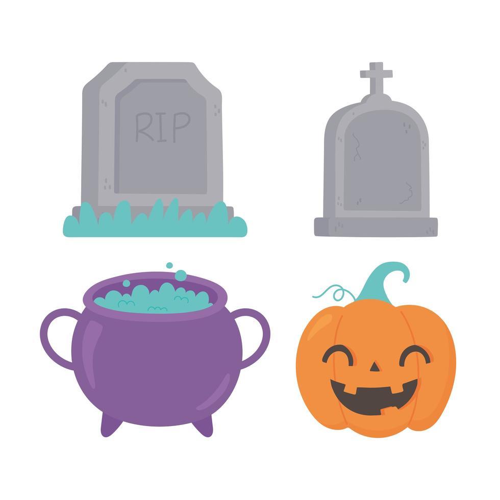 feliz halloween, caricatura, calabaza, caldero, lápidas, iconos vector