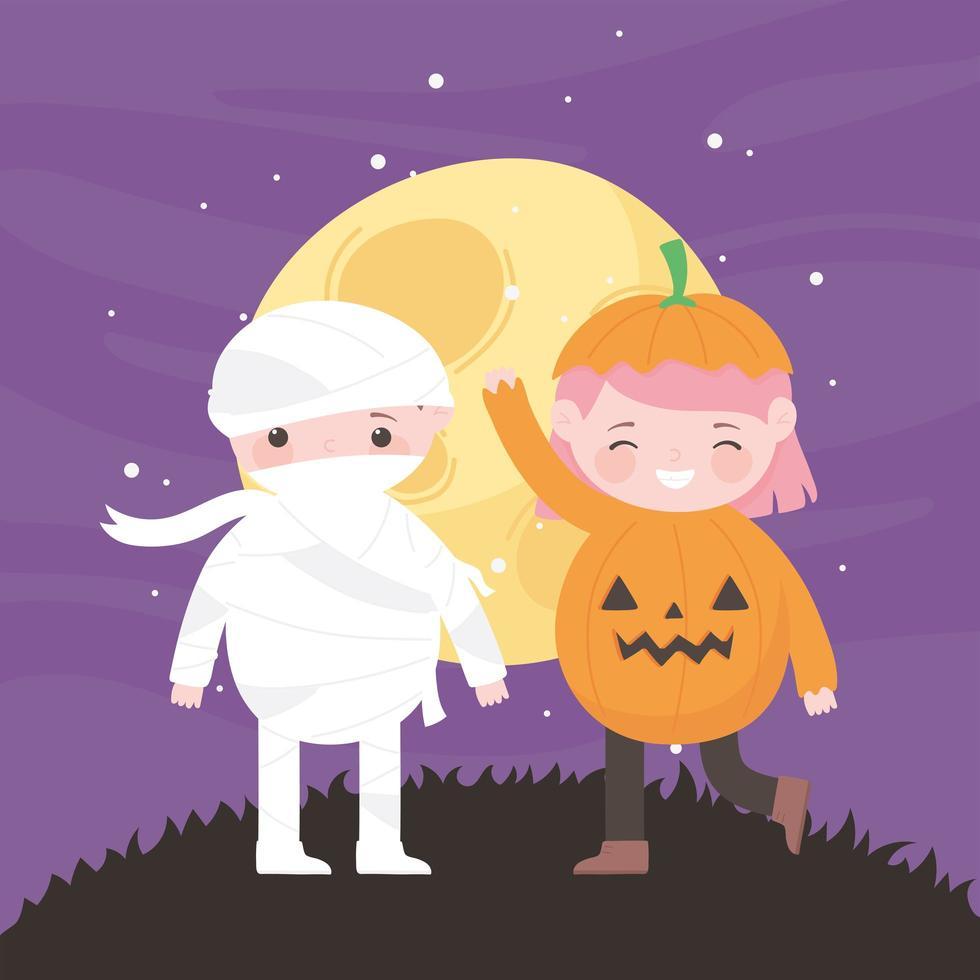 feliz dia das bruxas, abóbora e múmia na frente da lua vetor