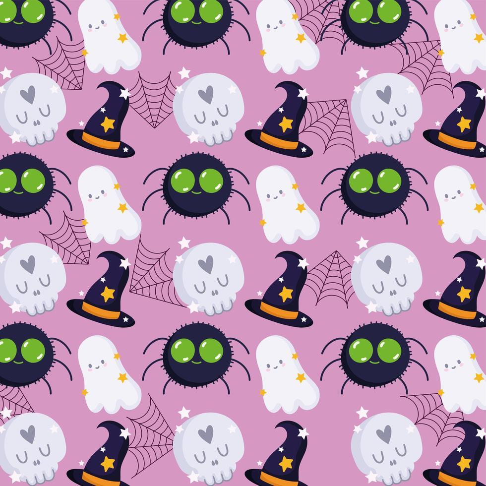 fantôme d'halloween, crâne, toile d'araignée, motif de chapeau de sorcière vecteur