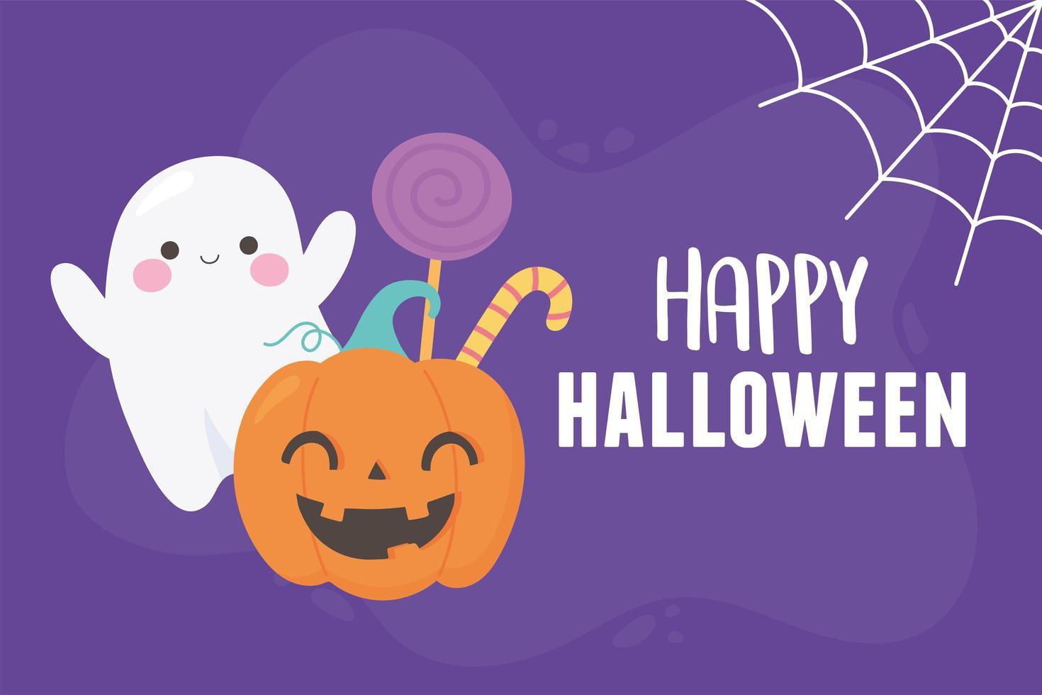 cartel de feliz halloween calabaza, fantasma y caramelos vector