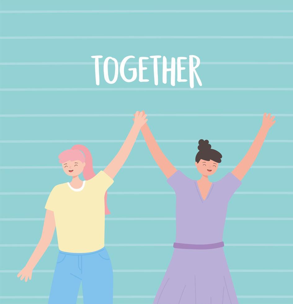 mensen samen, grappige jonge vrouwen hand in hand vector
