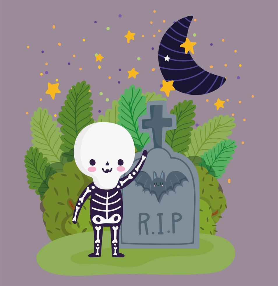 buon halloween, costume da scheletro di lapide di notte vettore