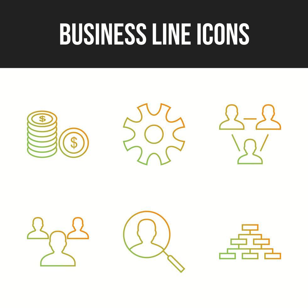 bella confezione da 6 icone di affari vettore
