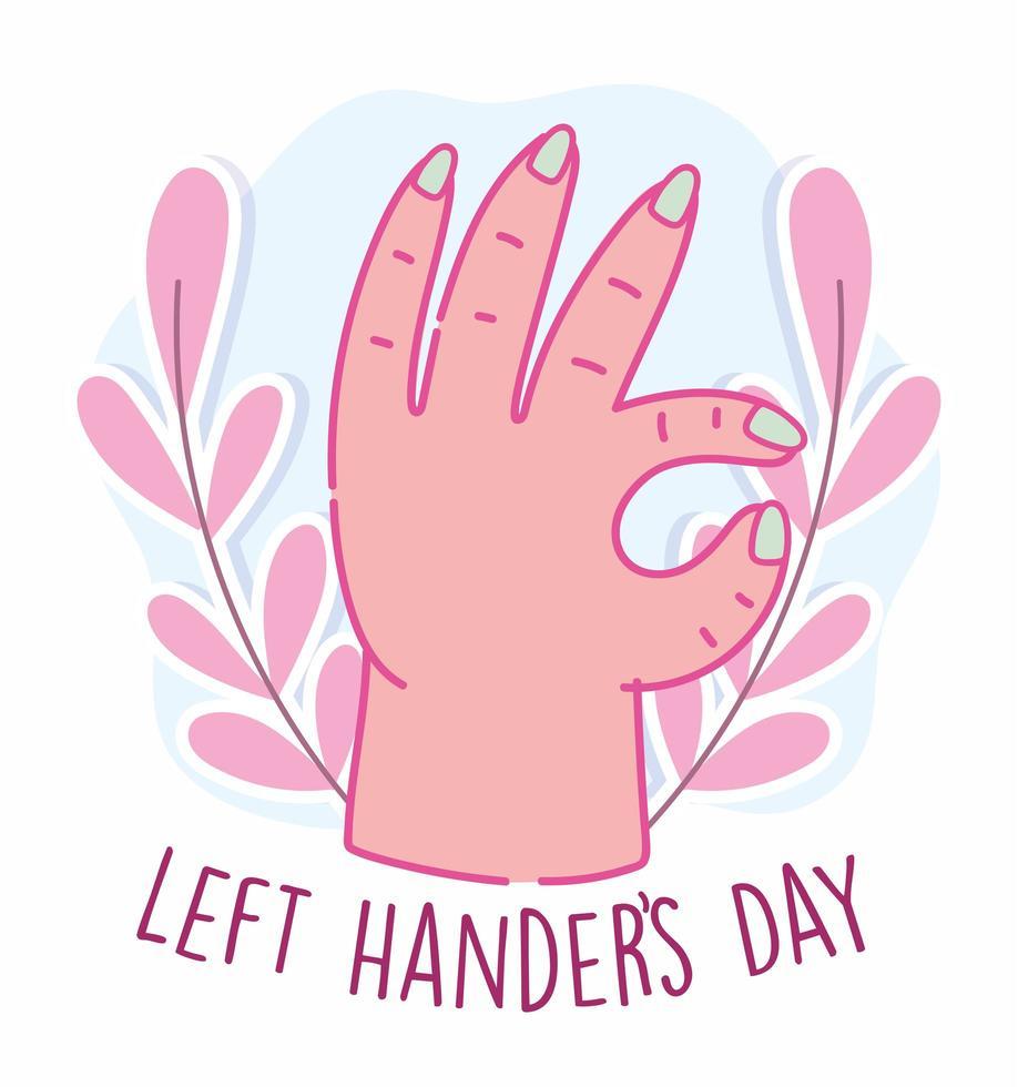 linkshandigen dag, hand met goedkeuring symbool vector