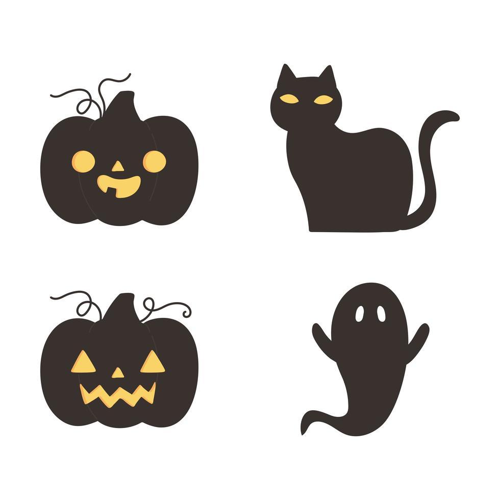 halloween pompoenen, kat en geest silhouet pictogrammen vector