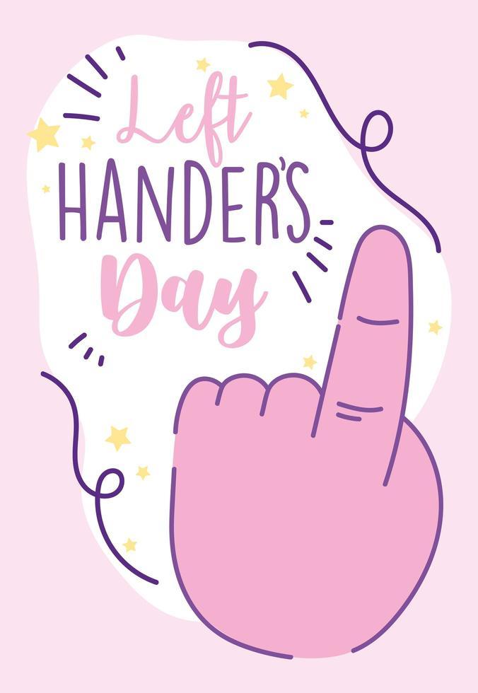 dia do canhoto, mão mostrando o primeiro gesto vetor