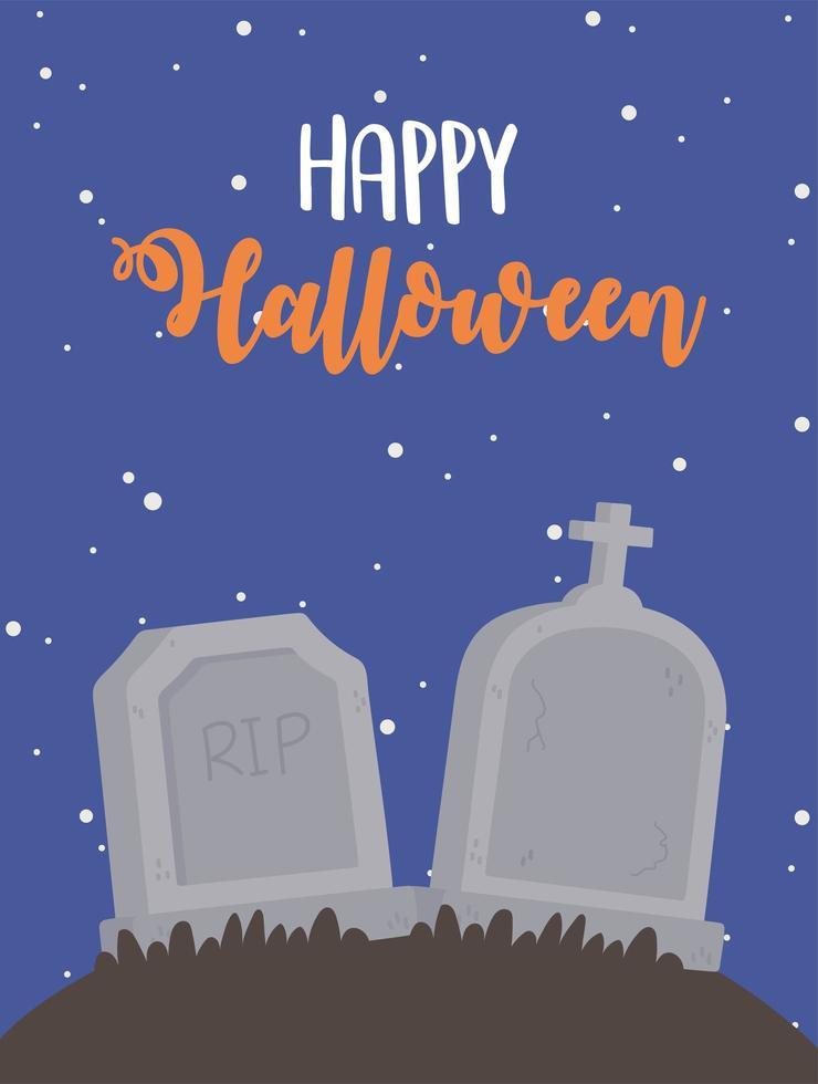 joyeux halloween pierres tombales de cimetière à la conception de nuit vecteur