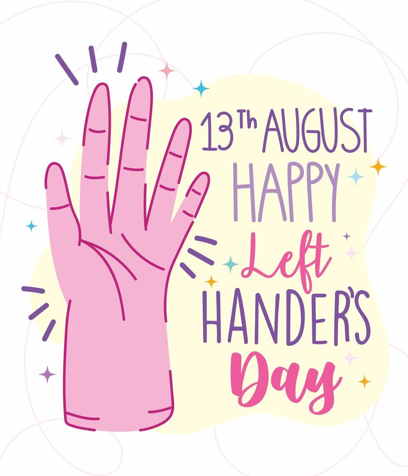 linkshandigen dag, open hand cartoon poster vector