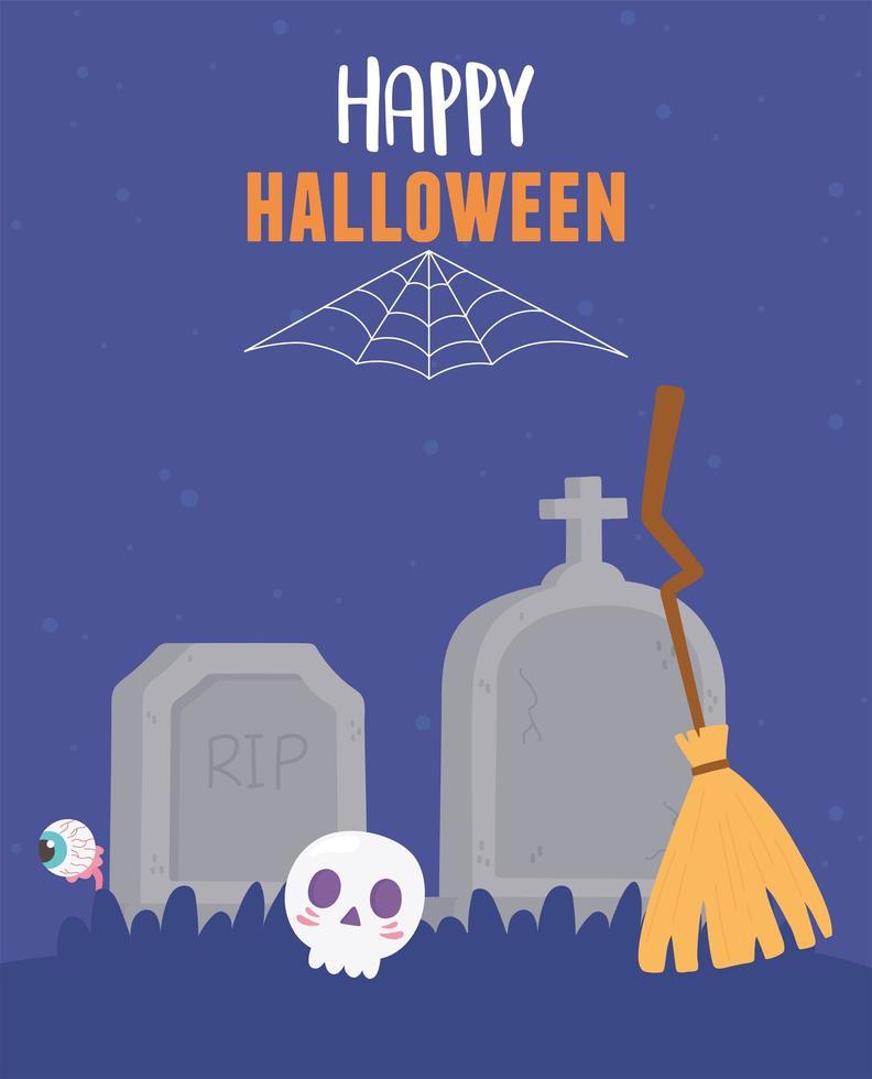 halloween-schedel, bezem, grafstenen, spookachtig oogontwerp vector