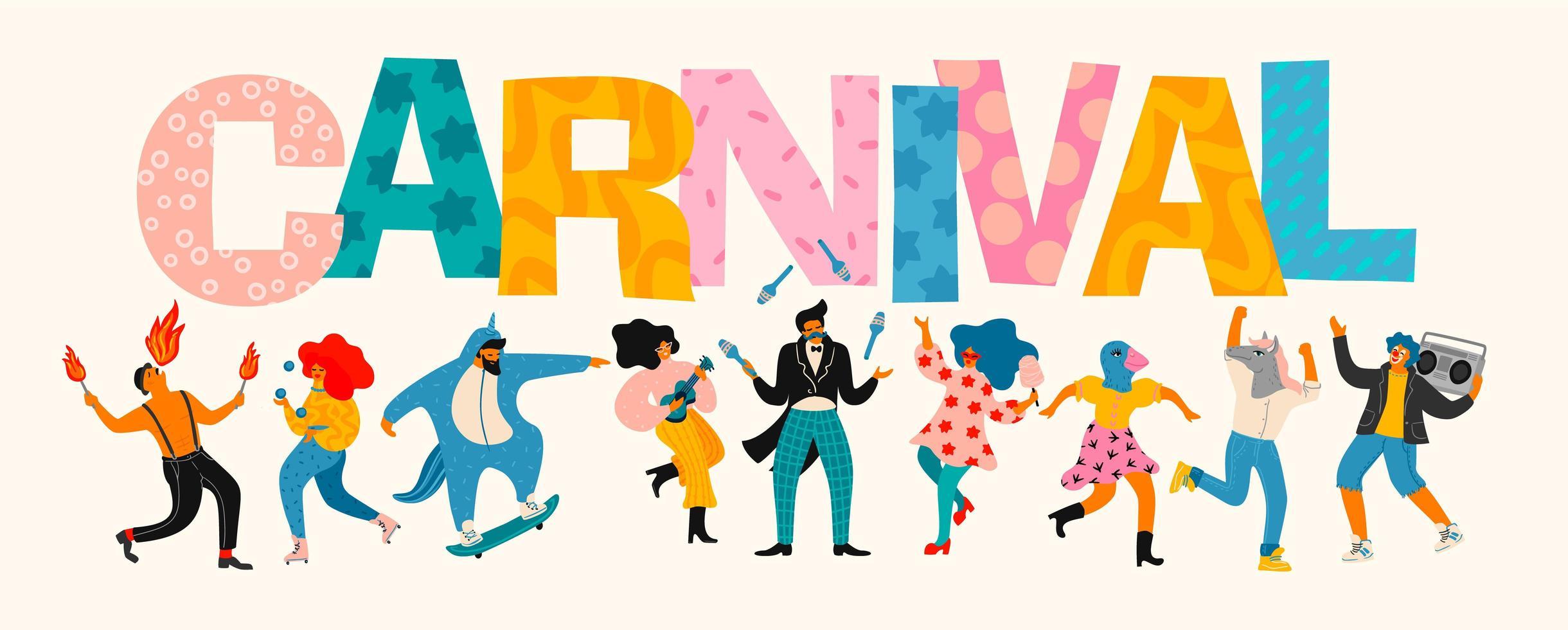 carnaval belettering en mensen vieren vector